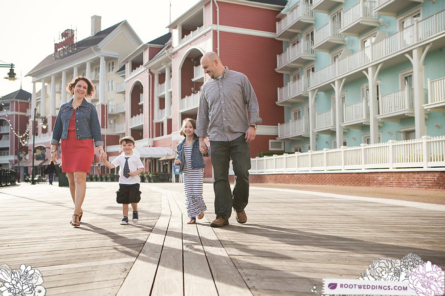 Root Weddings Disney's Boardwalk Inn Family Session