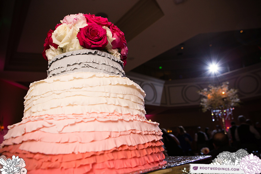 Ruffled layer wedding cake
