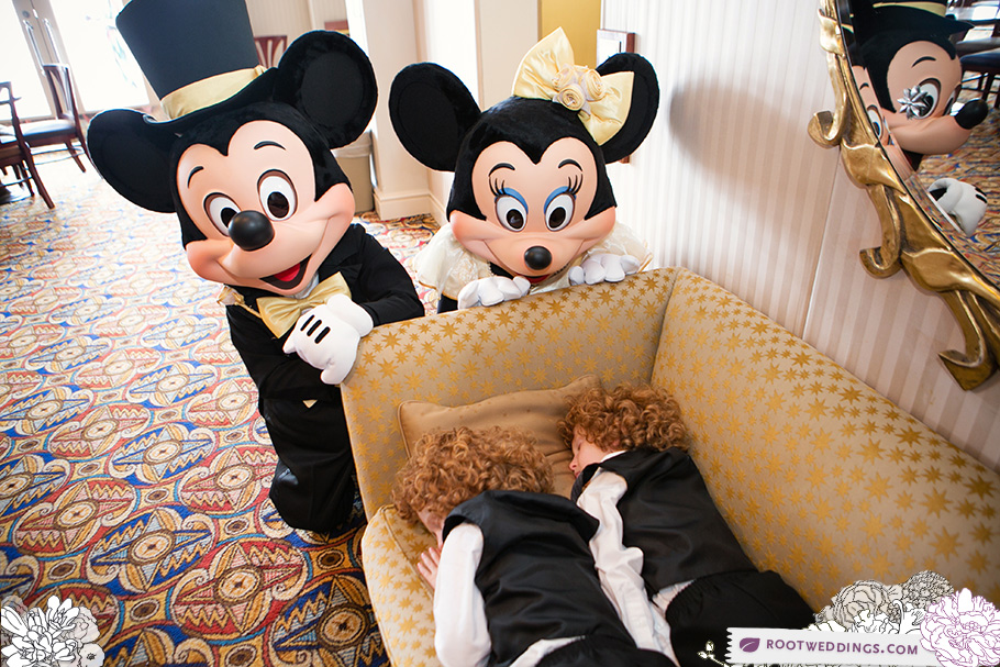 Walt Disney World Wedding Boardwalk Inn Atlantic Dance Hall Mickey Minnie Red Head Twins Sleeping