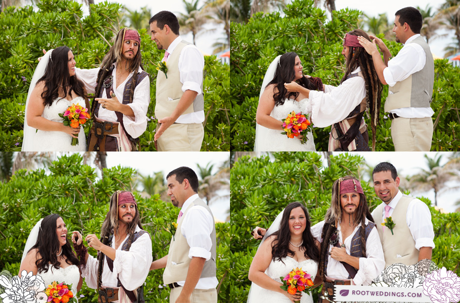 Disney's Castaway Cay - Jack Sparrow with Bride and Groom
