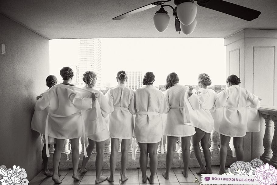 Embassy Suites Downtown Orlando Wedding Bridesmaids Flashing off Balcony