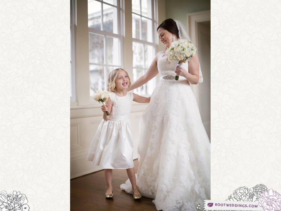 Walt Disney World Boardwalk Inn Resort Wedding Bride and Flower Girl