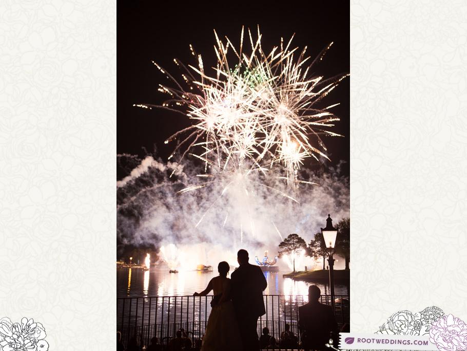 Walt Disney World Wedding Epcot Dessert Party France Pavilion Upper Illuminations Fireworks
