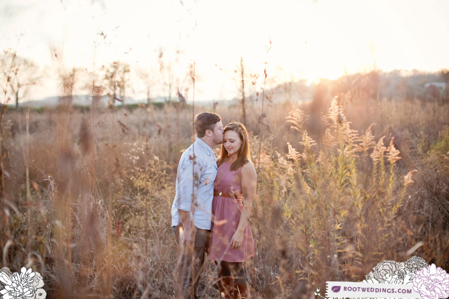 Nashville field engagement session at sunset
